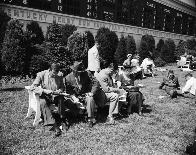 1956  people on bench