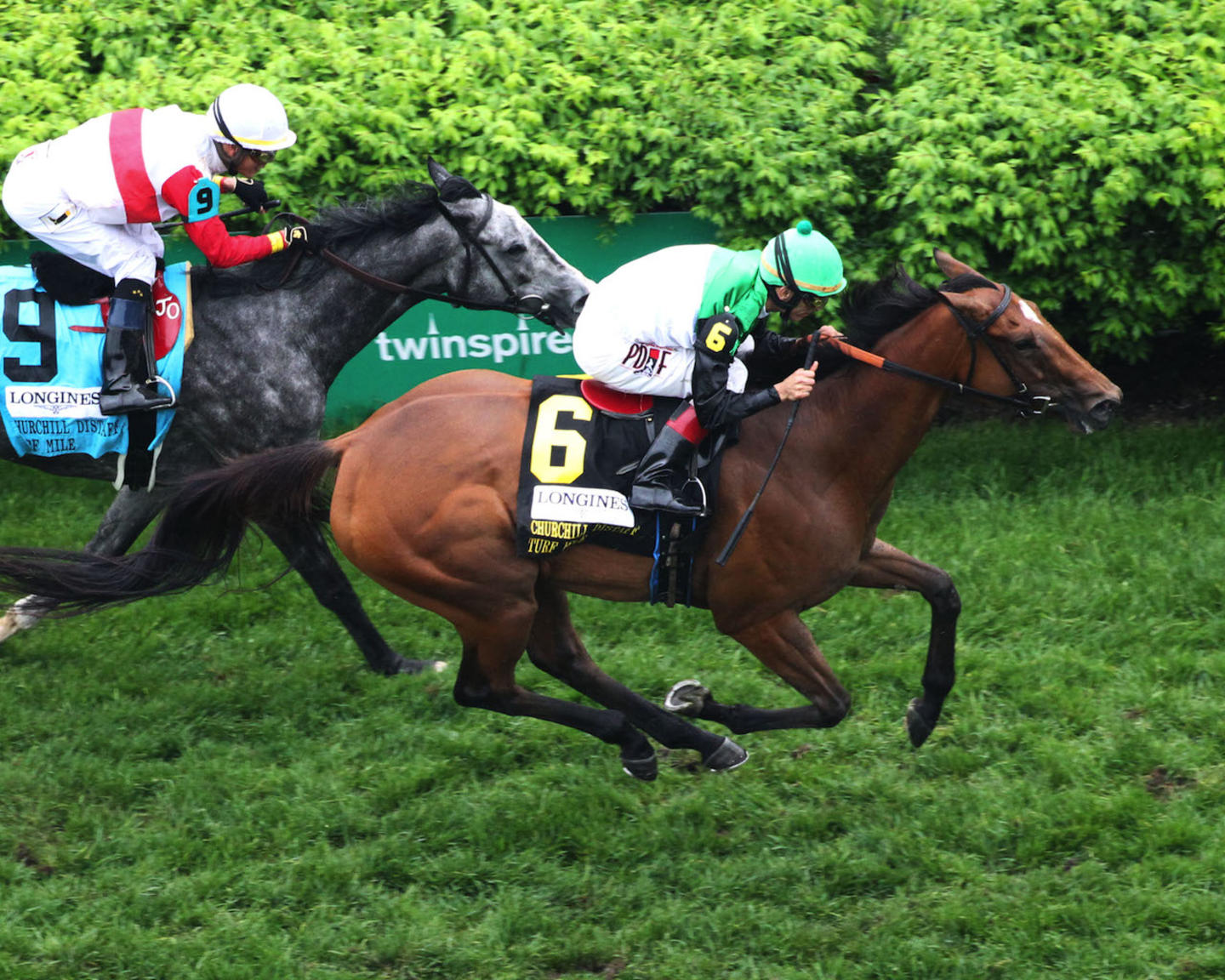 PROCTOR'S LEDGE - The Longines Churchill Distaff Turf Mile G2 - 33rd Running - 05-05-18 - R07 - CD - Aerial Finish 02