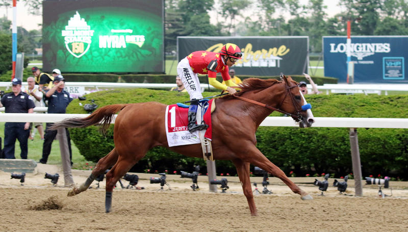 Justify with Mike Smith up wins the 2018 G 1 Belmont in…