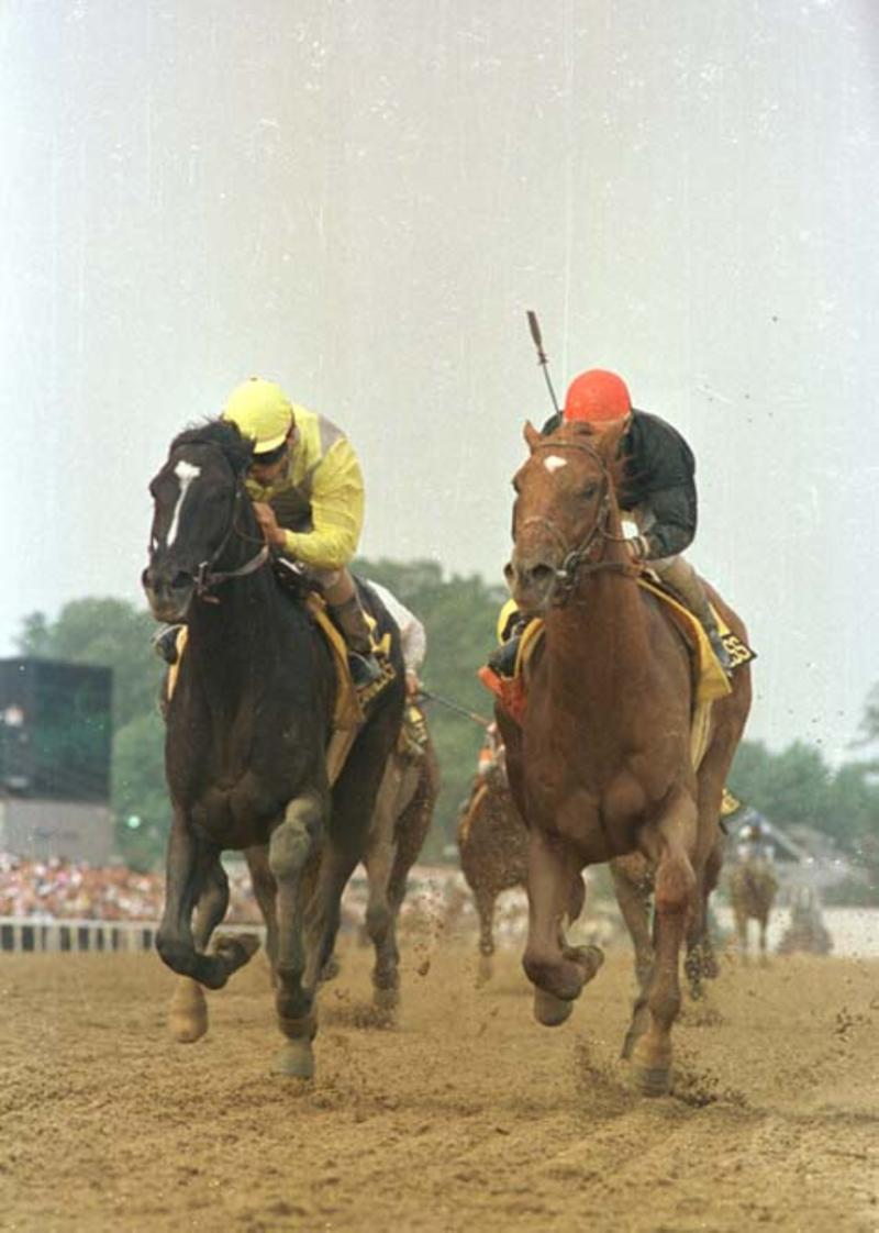 Sunday Silence wins 1989 Preakness Stakes over Easy Goer