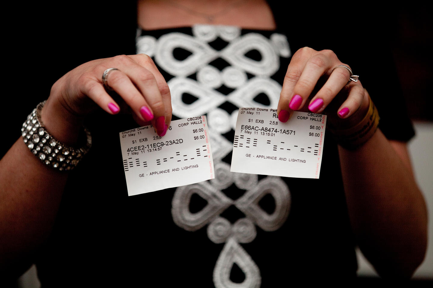 Close-up of two wagering vouchers/betting tickets
